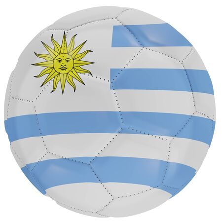 3d rendering of an Uruguay flag on a soccer ball. Isolated in white background