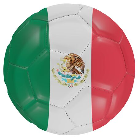3d rendering of a Mexico flag on a soccer ball. Isolated in white background