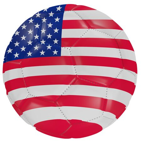 3d rendering of an United States of America flag on a soccer ball. Isolated in white background Stock Photo