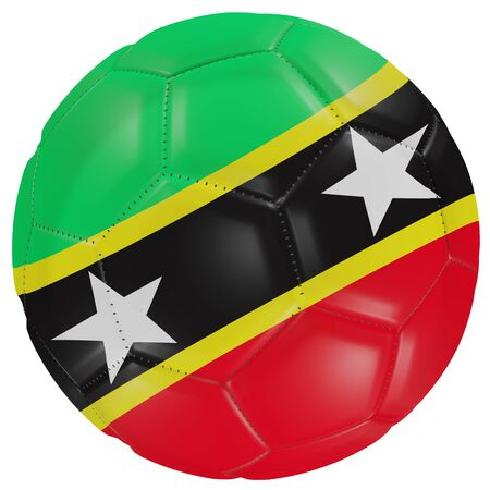 3d rendering of a Saint Christopher and Nevis flag on a soccer ball. Isolated in white background Stock Photo