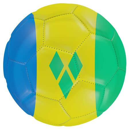 3d rendering of a Saint Vincent and the Grenadines flag on a soccer ball. Isolated in white background