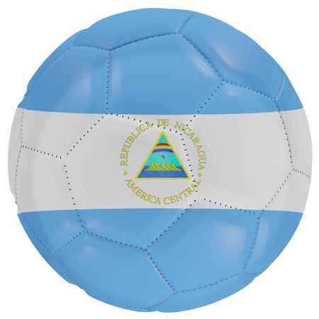3d rendering of a Nicaragua flag on a soccer ball. Isolated in white background