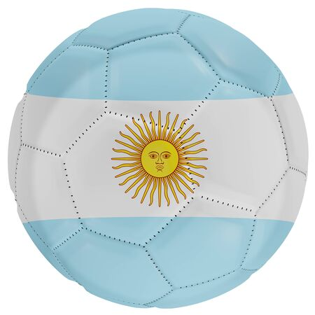 3d rendering of an Argentina flag on a soccer ball. Isolated in white background Stock Photo