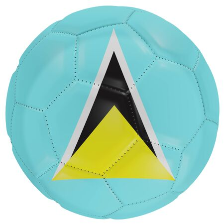 3d rendering of a Saint Lucia flag on a soccer ball. Isolated in white background