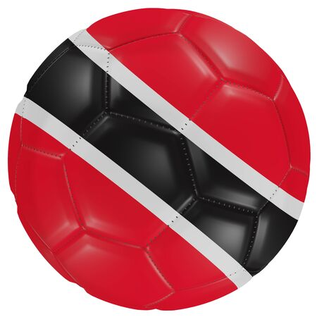 3d rendering of a Trinidad and Tobago flag on a soccer ball. Isolated in white background