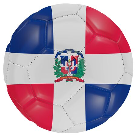 3d rendering of a Dominican Republic flag on a soccer ball. Isolated in white background