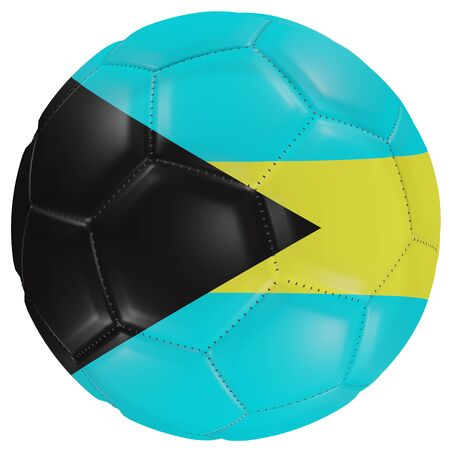 3d rendering of a Bahamas flag on a soccer ball. Isolated in white background