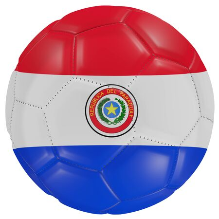 3d rendering of a Paraguay flag on a soccer ball. Isolated in white background Stock Photo