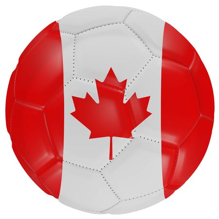 3d rendering of a Canada flag on a soccer ball. Isolated in white background
