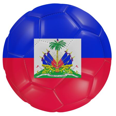 3d rendering of a Haiti flag on a soccer ball. Isolated in white background