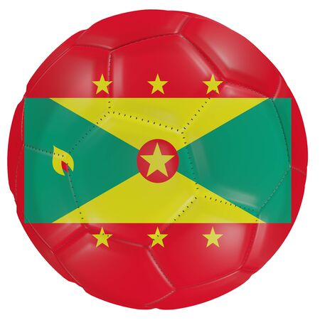 3d rendering of a Grenada flag on a soccer ball. Isolated in white background