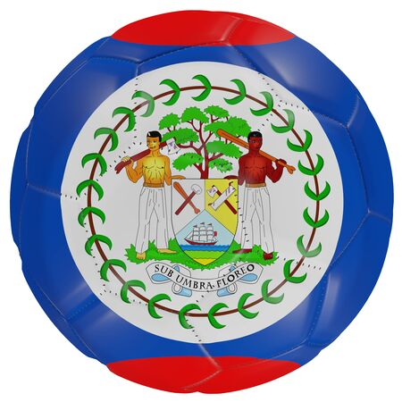 3d rendering of a Belize flag on a soccer ball. Isolated in white background