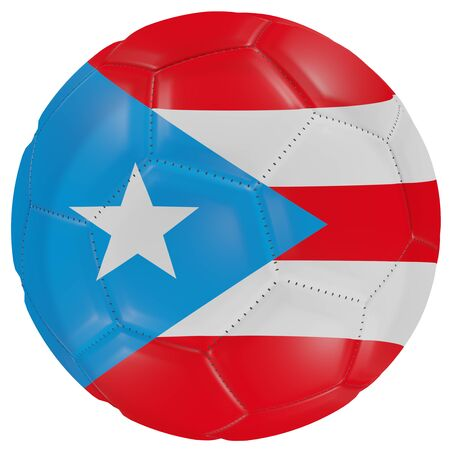 3d rendering of a Puerto Rico flag on a soccer ball. Isolated in white background Stock Photo