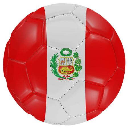 3d rendering of a Peru flag on a soccer ball. Isolated in white background Stock Photo