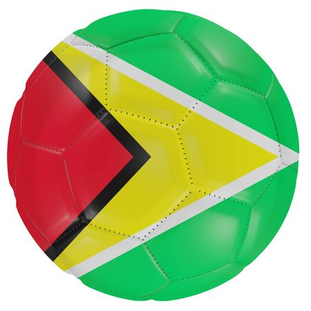 3d rendering of a Guyana flag on a soccer ball. Isolated in white background