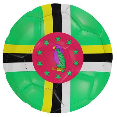 3d rendering of a Dominica flag on a soccer ball. Isolated in white background