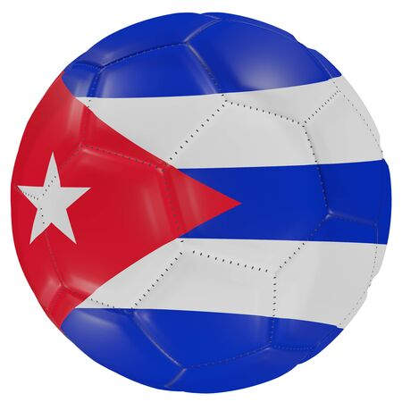 3d rendering of a Cuba flag on a soccer ball. Isolated in white background