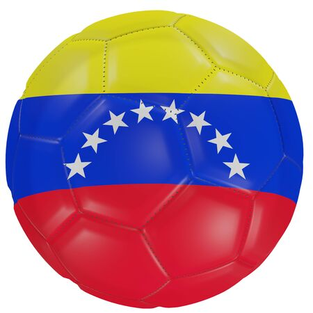 3d rendering of a Venezuela flag on a soccer ball. Isolated in white background Stock Photo