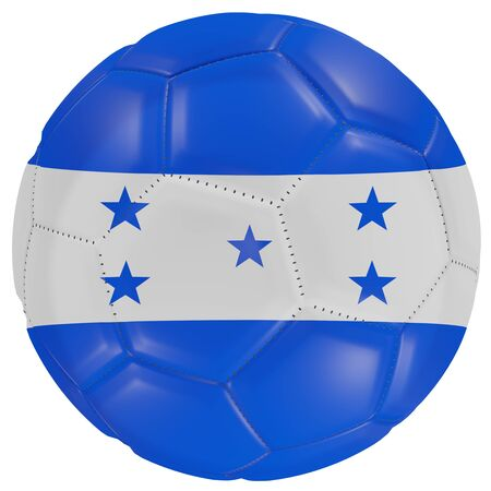 3d rendering of a Honduras flag on a soccer ball. Isolated in white background