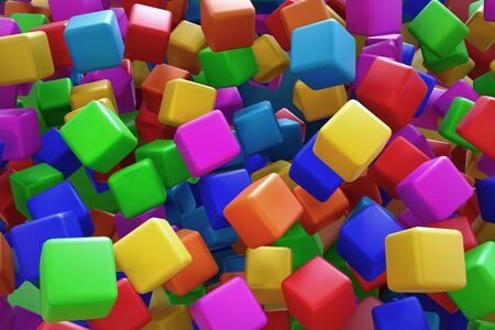 3d rendering of a lot of colorful cubes. Stock Photo