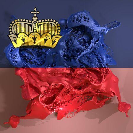 3d rendering of a Liechtenstein country flag in a liquid fluid. Stock Photo