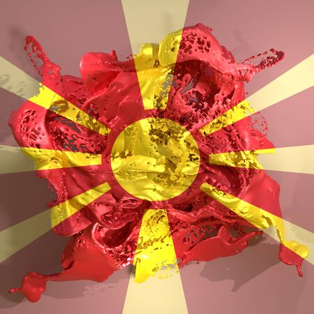 3d rendering of a Macedonia country flag in a liquid fluid.