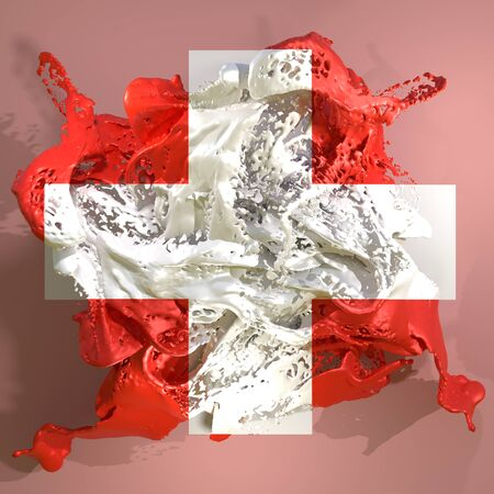3d rendering of a Switzerland country flag in a liquid fluid.