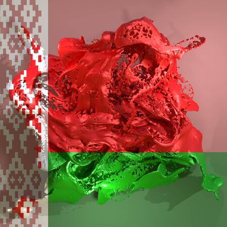 3d rendering of a Belarus country flag in a liquid fluid.
