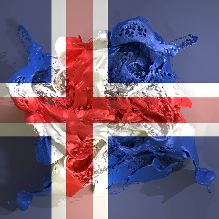 3d rendering of an Iceland country flag in a liquid fluid.