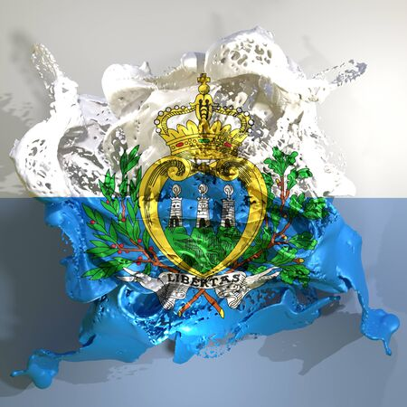 3d rendering of a San Marino country flag in a liquid fluid. Stock Photo