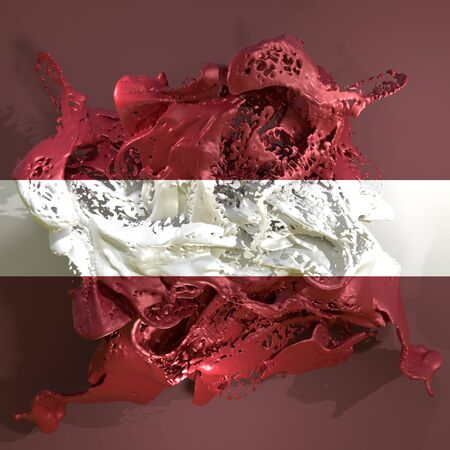 3d rendering of a Latvia country flag in a liquid fluid.