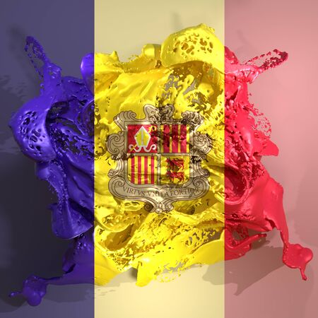 3d rendering of an Andorra country flag in a liquid fluid. Stock Photo