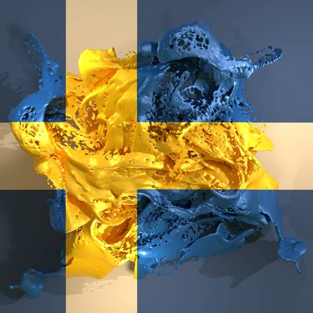 3d rendering of a Sweden country flag in a liquid fluid.