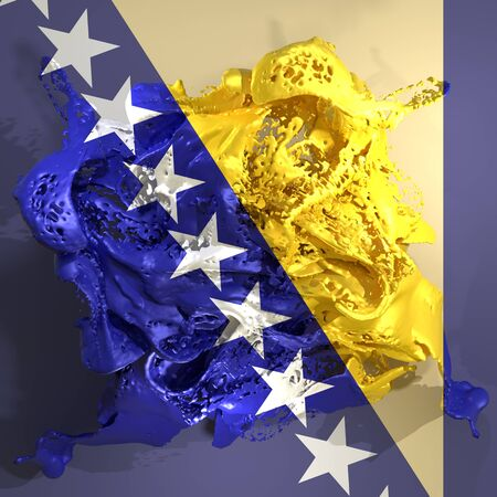 3d rendering of a Bosnia and Herzegovina country flag in a liquid fluid.