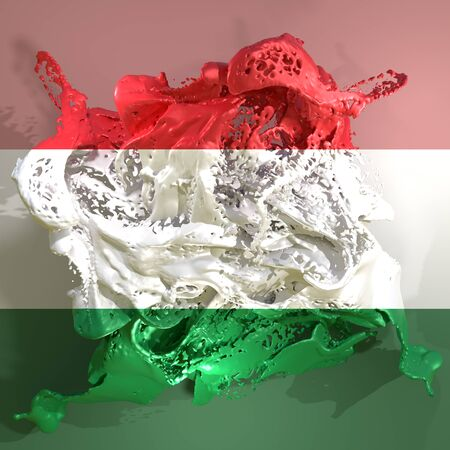 3d rendering of a Hungary country flag in a liquid fluid. Stock Photo