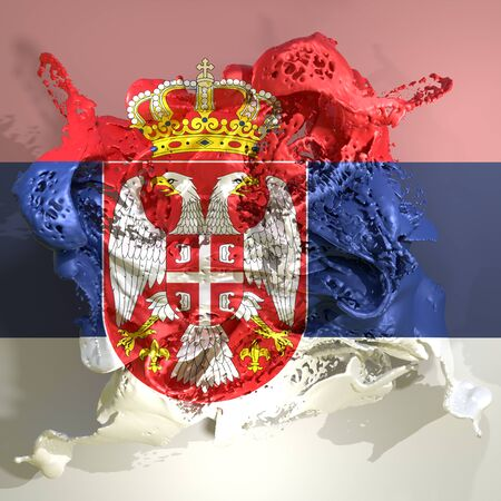 3d rendering of a Serbia country flag in a liquid fluid.