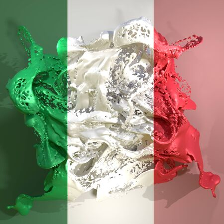 3d rendering of an Italy country flag in a liquid fluid.