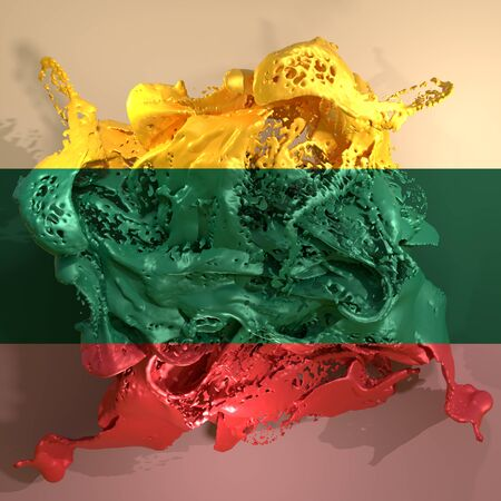3d rendering of a Lithuania country flag in a liquid fluid.