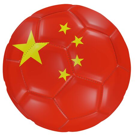 3d rendering of a China flag on a soccer ball. Isolated in white background 版權商用圖片