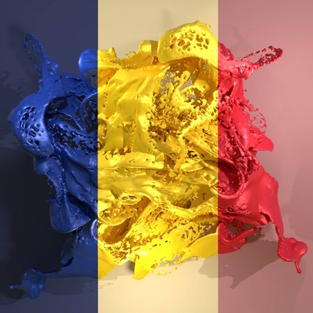 3d rendering of a Romania country flag in a liquid fluid.