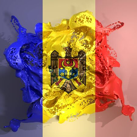 3d rendering of a Moldova country flag in a liquid fluid.