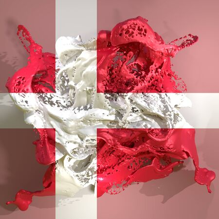 3d rendering of a Denmark country flag in a liquid fluid.