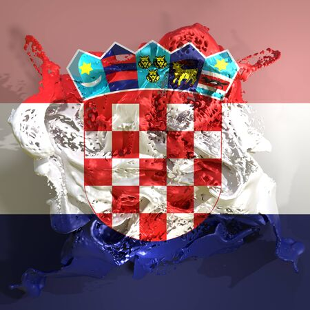 3d rendering of a Croatia country flag in a liquid fluid.