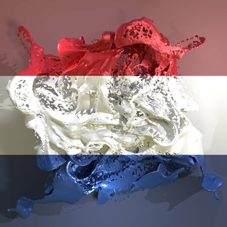 3d rendering of a Holland country flag in a liquid fluid.