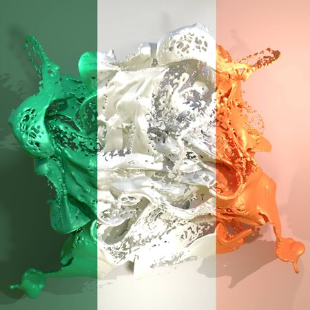 3d rendering of an Ireland country flag in a liquid fluid. Stock Photo