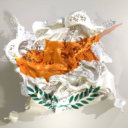 3d rendering of a Cyprus country flag in a liquid fluid.