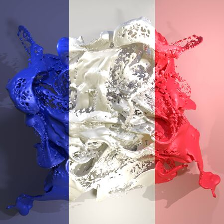 3d rendering of a France country flag in a liquid fluid.