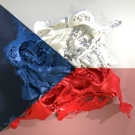 3d rendering of a Czech Republic country flag in a liquid fluid. Stock Photo