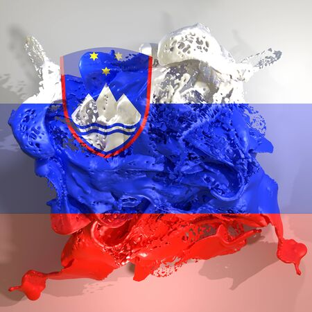 3d rendering of a Slovenia country flag in a liquid fluid.