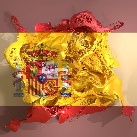 3d rendering of a Spain country flag in a liquid fluid. Stock Photo